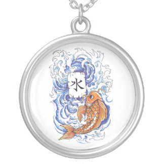 Cool Oriental Japanese Koi Carp Fish Wave tattoo Silver Plated Necklace