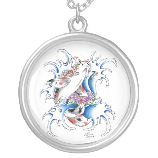 Cool Oriental Japanese Koi Carp Water tattoo Silver Plated Necklace
