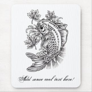 Cool Oriental Japanese Koi Fish Carp tattoo Mouse Pad