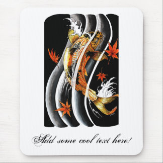 Cool Oriental Japanese Koi Lucky Carp Water Ink Mouse Pad