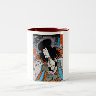 Cool oriental japanese Kuniyoshi kabuki actor art Two-Tone Coffee Mug