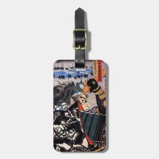 Cool oriental japanese legendary warrior samurai luggage tag