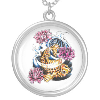 Cool Oriental Japanese Lucky Koi Carp tattoo Silver Plated Necklace