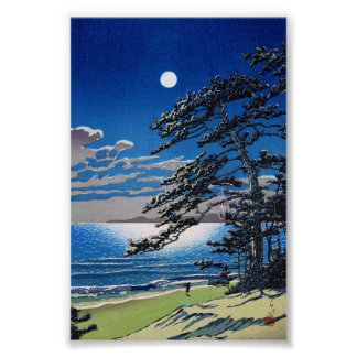 Cool oriental japanese moonlight night scenery poster