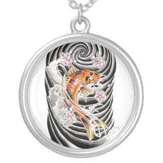 Cool Oriental Japanese Orange Carp Koi Fish Silver Plated Necklace