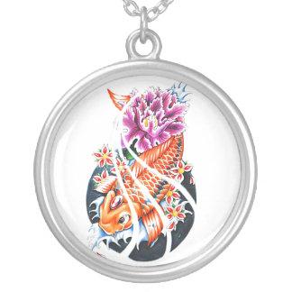 Cool Oriental Japanese Orange Koi Fish Carp Lotus Silver Plated Necklace