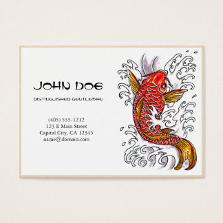 Cool oriental japanese red ink lucky koi fish business card