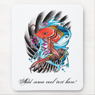 Cool Oriental Japanese Red Koi Fish Carp Lucky Mouse Pad