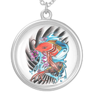 Cool Oriental Japanese Red Koi Fish Carp Lucky Silver Plated Necklace