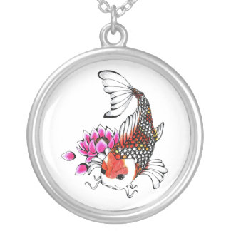 Cool Oriental Japanese Red Koi Lotus tattoo Silver Plated Necklace