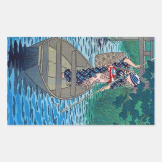Cool oriental japanese river boat fishing woman rectangular sticker