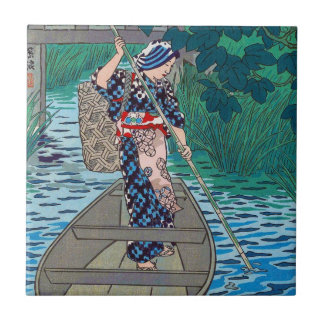Cool oriental japanese river boat fishing woman small square tile