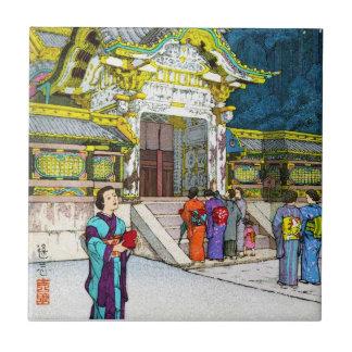 Cool oriental japanese shrine temple people hanga ceramic tile