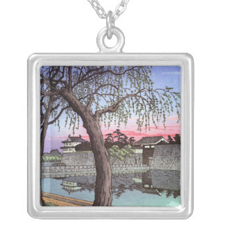 Cool oriental japanese sunset watercolour painting square pendant necklace