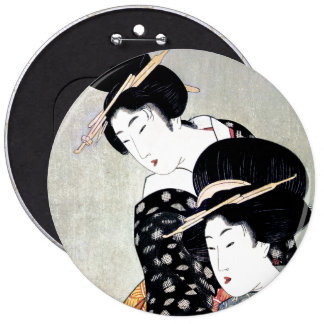 Cool Oriental Japanese Traditional Geisha art 6 Cm Round Badge