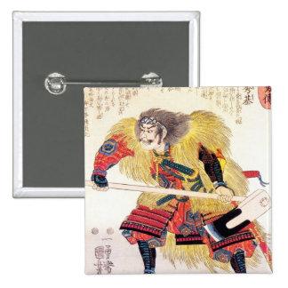 Cool oriental japanese traditional samurai warrior pinback button