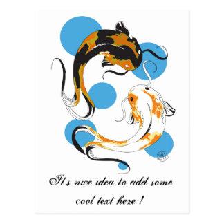 Cool Oriental Japanese Twin Bron White Koi Fish Postcard