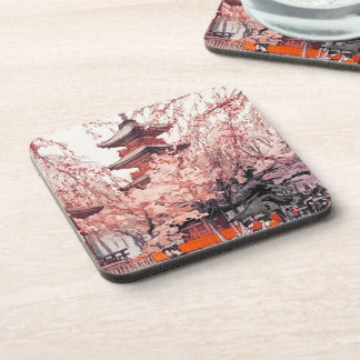 Cool oriental japanese Ueno Park watercolour art Coaster