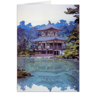 Cool oriental japanese watercolour temple painting note card