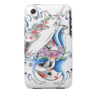 Cool oriental japanese white ink lucky koi iPhone 3 Case-Mate case
