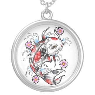 Cool Oriental Japanese White Koi Fish Carp tattoo Round Pendant Necklace