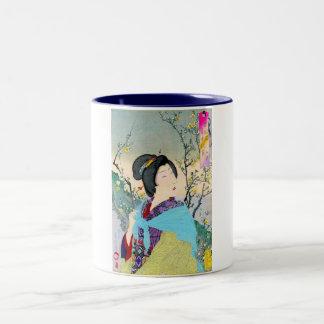 cool oriental japanese woodprint classic geisha Two-Tone coffee mug