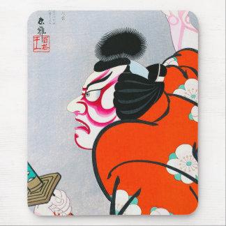 Cool oriental japanese woodprint kabuki samurai mouse pad
