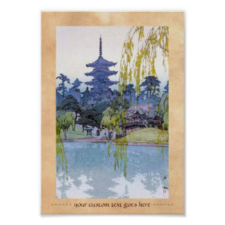 Cool oriental japanese Yoshida lake Shrine Temple Poster