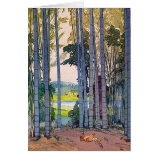 Cool oriental japanse Yoshida Bamboo Forest art Note Card