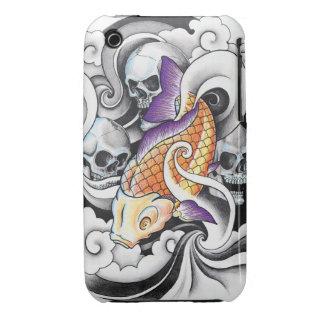 Cool Oriental Koi Carp Skull tattoo iPhone 3 Case-Mate Cases