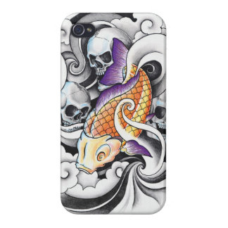 Cool Oriental Koi Carp Skull tattoo Cover For iPhone 4