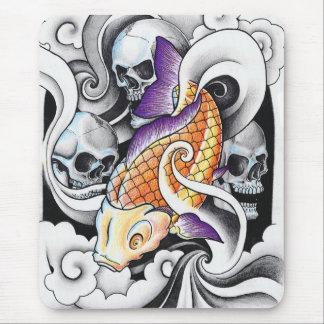 Cool Oriental Koi Carp Skull tattoo Mouse Pad