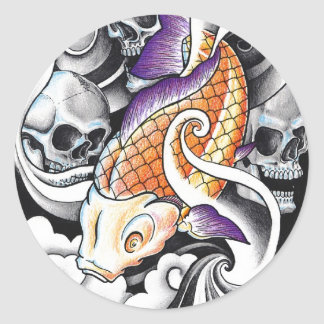 Cool Oriental Koi Carp Skull tattoo Round Sticker