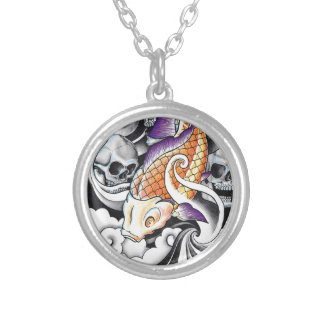 Cool Oriental Koi Carp Skull tattoo Silver Plated Necklace