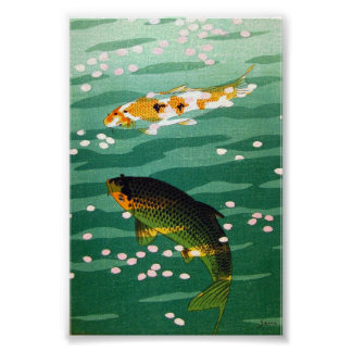 Cool oriental lucky koi fishes emerald water art poster
