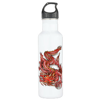 Cool Oriental Red Dragon Tattoo 710 Ml Water Bottle