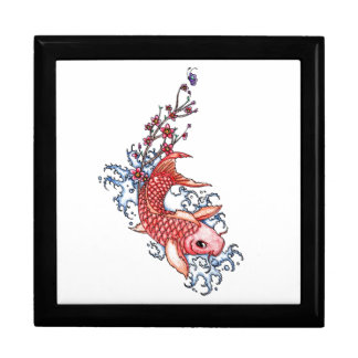 Cool Oriental Red Koi Carp Fish flowers tattoo Large Square Gift Box
