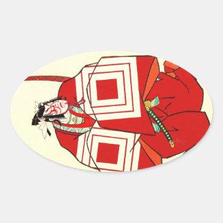 Cool Oriental Shibaraku SAmurai tattoo Oval Sticker