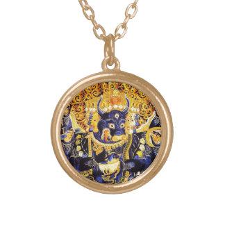 Cool oriental tangka Yamantaka death god tattoo Gold Plated Necklace