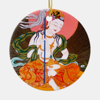Cool oriental tibetan thangka god tattoo art round ceramic decoration