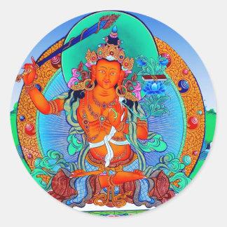 Cool oriental tibetan thangka god  tattoo art round sticker