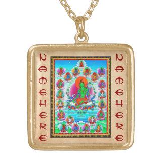 Cool oriental tibetan thangka Green Tara  tattoo Square Pendant Necklace