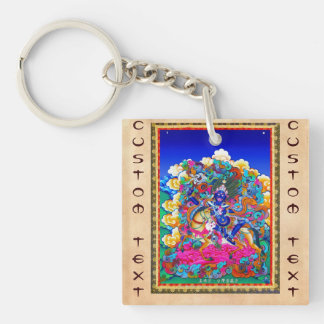 Cool oriental tibetan thangka tattoo Palden Lhamo Key Ring