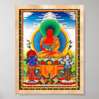 Cool oriental tibetan thangka Three Major Saints Poster