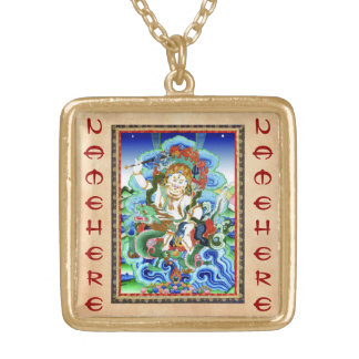 Cool oriental tibetan thangka White Jambhala Gold Plated Necklace