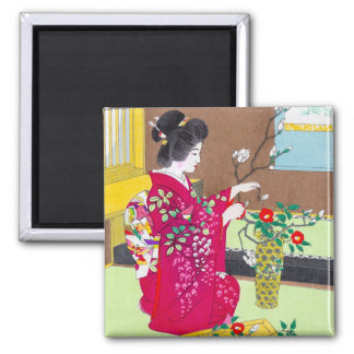 Cool oriental traditional japanese geisha lady art square magnet