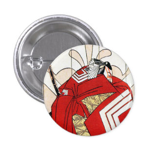 Cool Oriental Traditional Japanese Red Samurai 3 Cm Round Badge