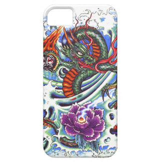 Cool Oriental Water Dragon Purple Lotus tattoo iPhone 5 Cases