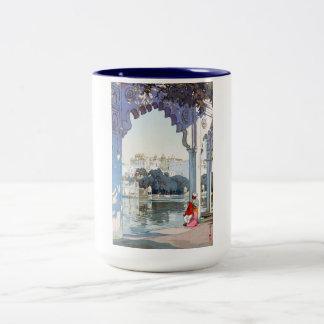Cool oriental Yoshida Hiroshi udaipur Palace art Two-Tone Mug