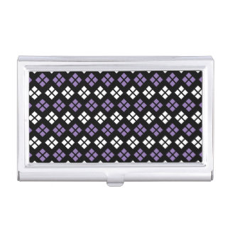 Cool Pale Purple & White Argyle Pattern on Black Business Card Holder